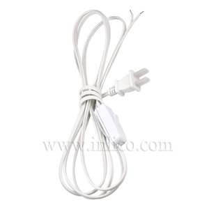 UNPOLARIZED UL APRVD INLINE CORD SET 2.5MT WHITE SPT1 CABLE SPACING 70CM FROM FREE END AND 1800CM FROM PLUG END