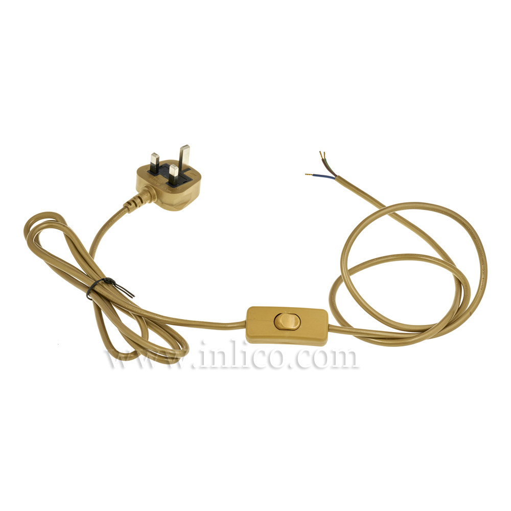 GOLD 2.5MT INLINE CORD SET - SWITCH 1.5MT FROM PLUG END - 3 X.75 GOLD CABLE + 3A FUSED GOLD MOULDED PLUG. CABLE 2183Y VDE APPROVED. PLUG TO BS1363