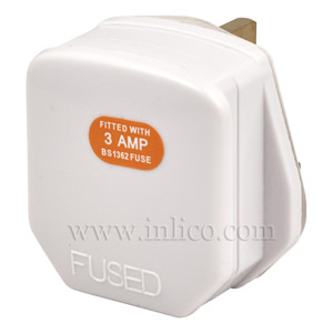ASTA APRVD 13A PLUGTOP +3A FUSE WHITE TO BS1363 AND KITEMARKED