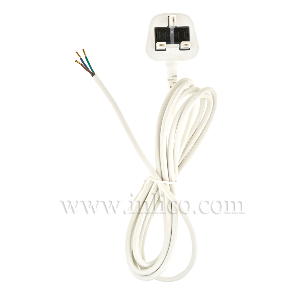 3A SEALED TAMPER-PROOF PLUG + 2.5M 2183Y 3 X .75MM WHITE CABLE. CABLE IS APPROVED TO BS6500 HARMONISED HO3VV-F. FREE END BOOTLACED. PLUG BS 1363 ASTA APPROVED