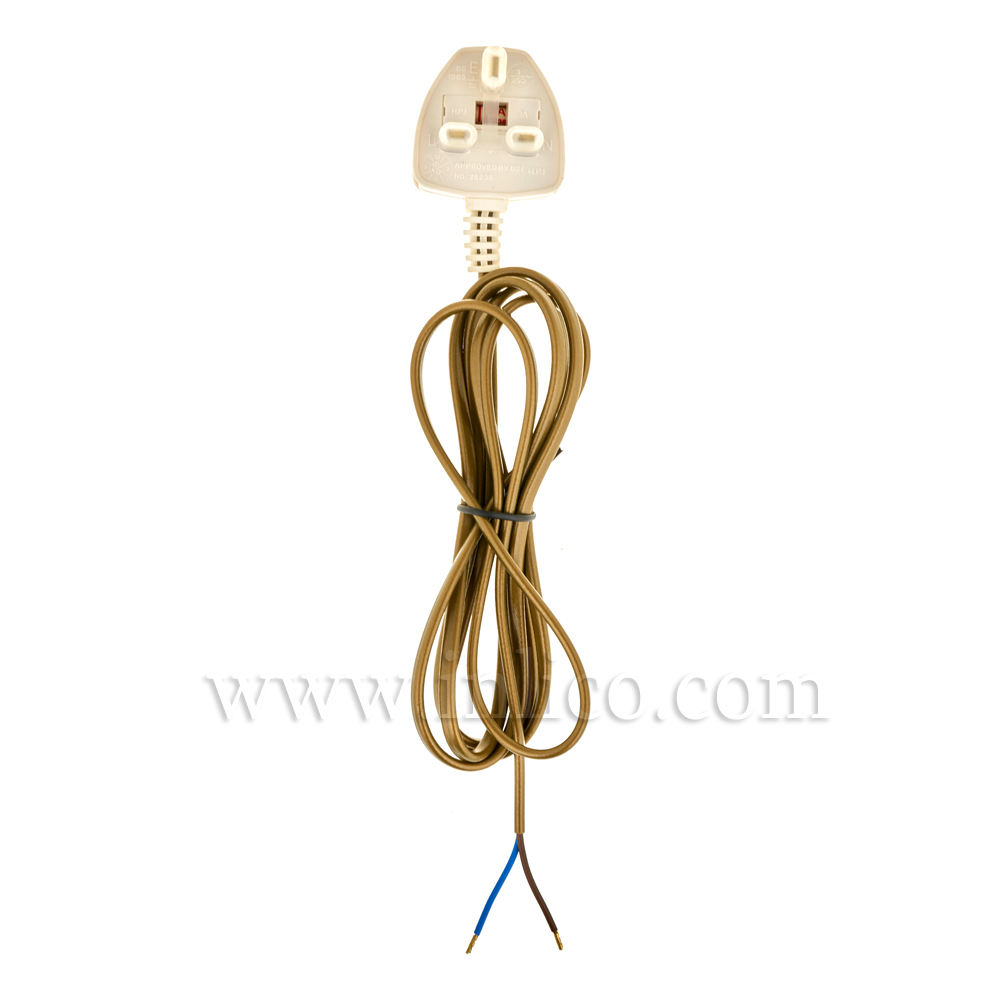 3A SEALED PLUG+2M 2192Y 2X.75MM GOLD FLX
