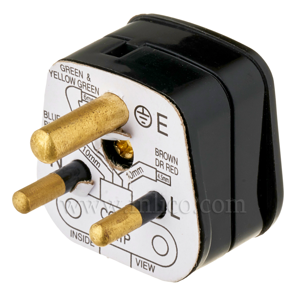 5A 3 ROUND PIN PLUG UNFUSED BLACK STANDARD BS946:1950