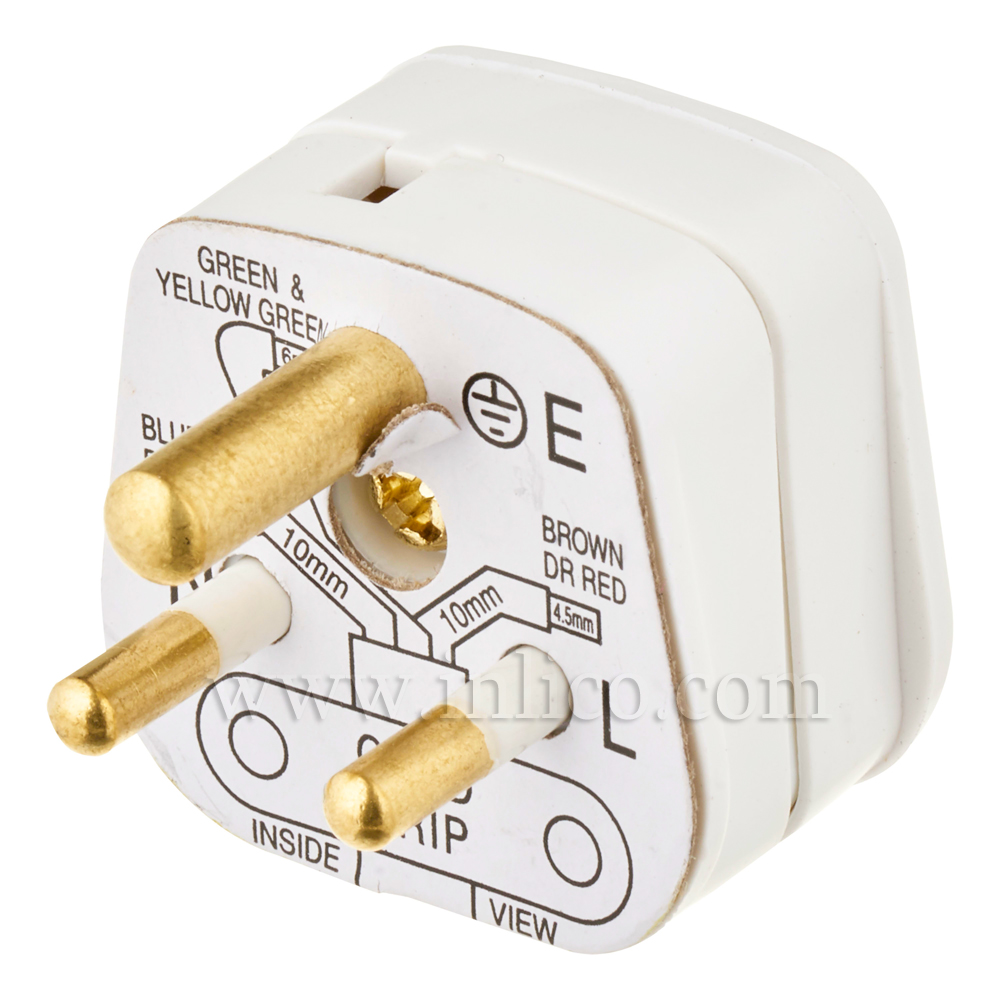 5A 3 ROUND PIN PLUG UNFUSED WHITE STANDARD BS946:1950