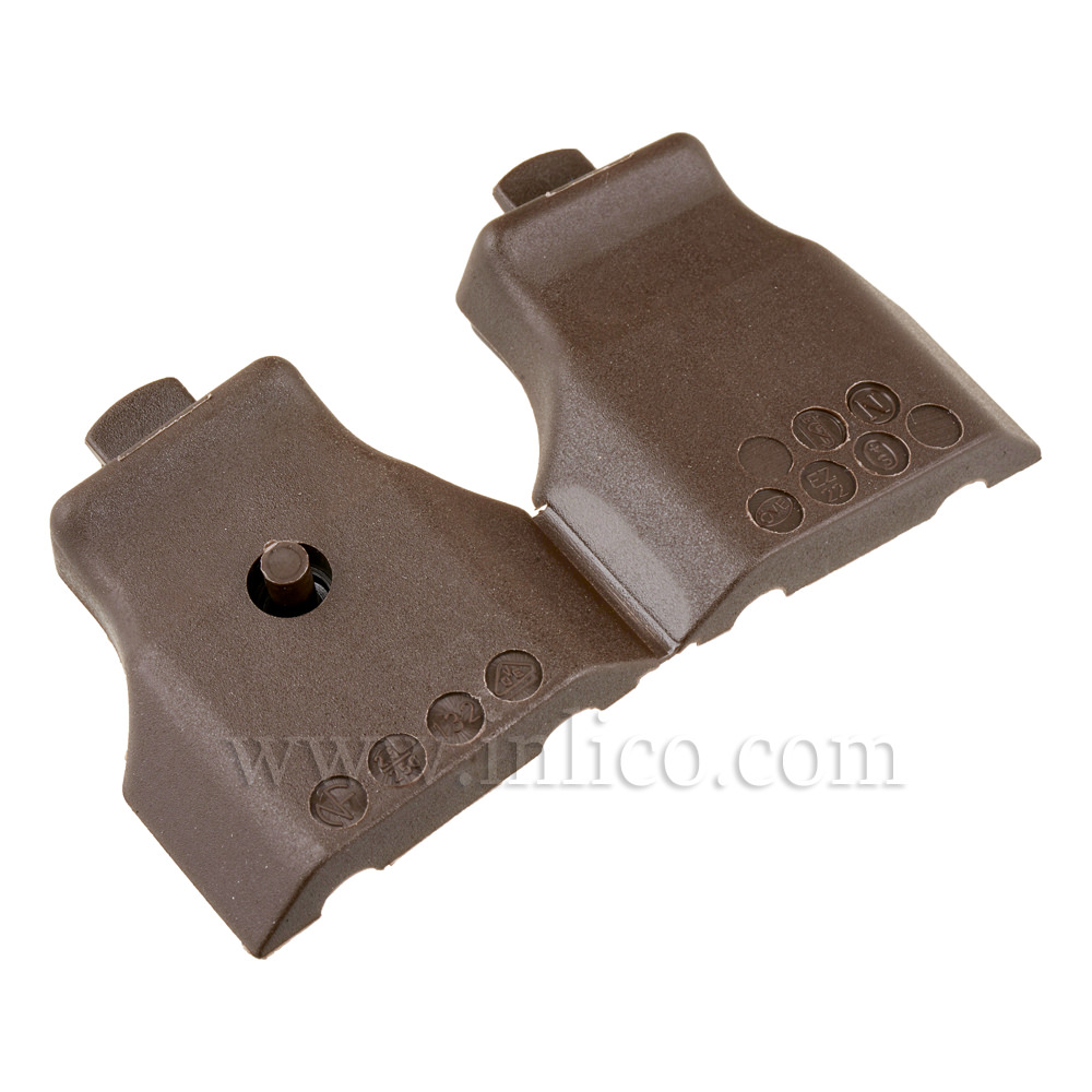 BROWN 2 AMP EURO PLUG BODY FOR FLAT CABLE WITH CRIMP TERMINALS  CEE 7/16 EN50075  AFTER WIRING PLASTIC PIN MUST BE DEPRESSED TO SEAL THE PLUG