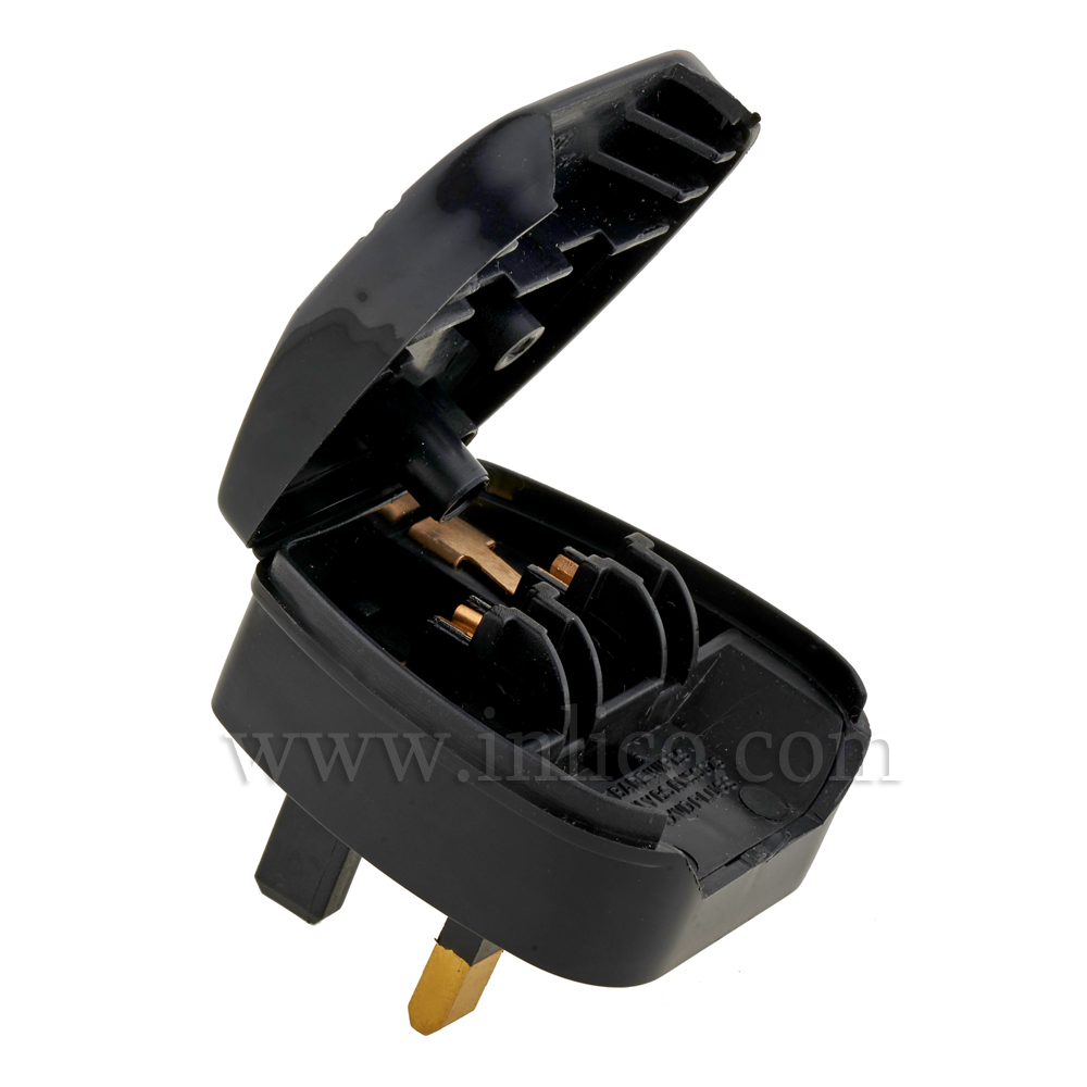 UK/EURO PLUG ADAPTOR BLACK  - FUSED 3AMP