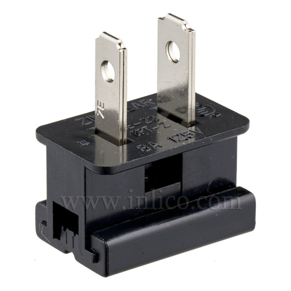 BLACK 2 PIN UL APPROVED USA POLARISED PLUG FOR SPT2 CABLE UL File No E152761