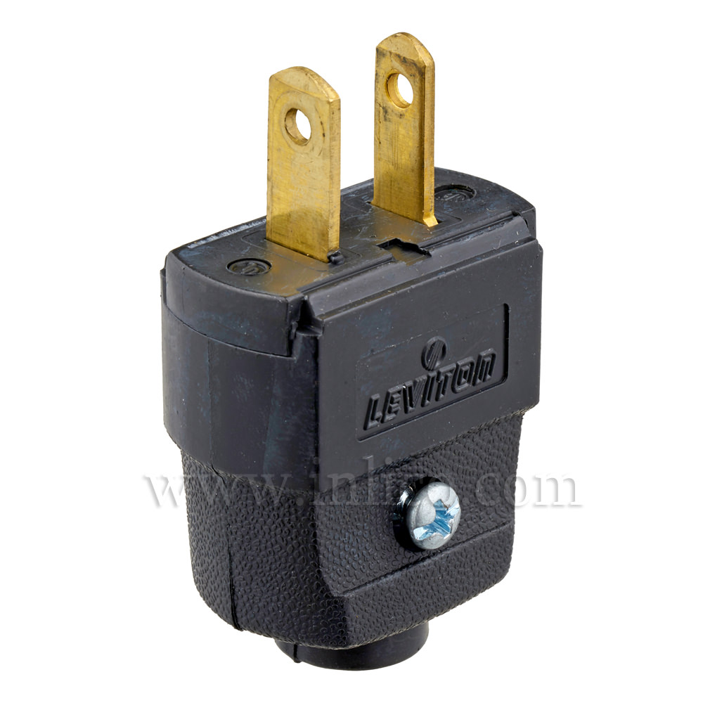 BLACK 2 PIN UL LISTED USA POLARISED PLUG  REWIREABLE WITH SCREW TERMINALS UL FILE NUMBER E13393