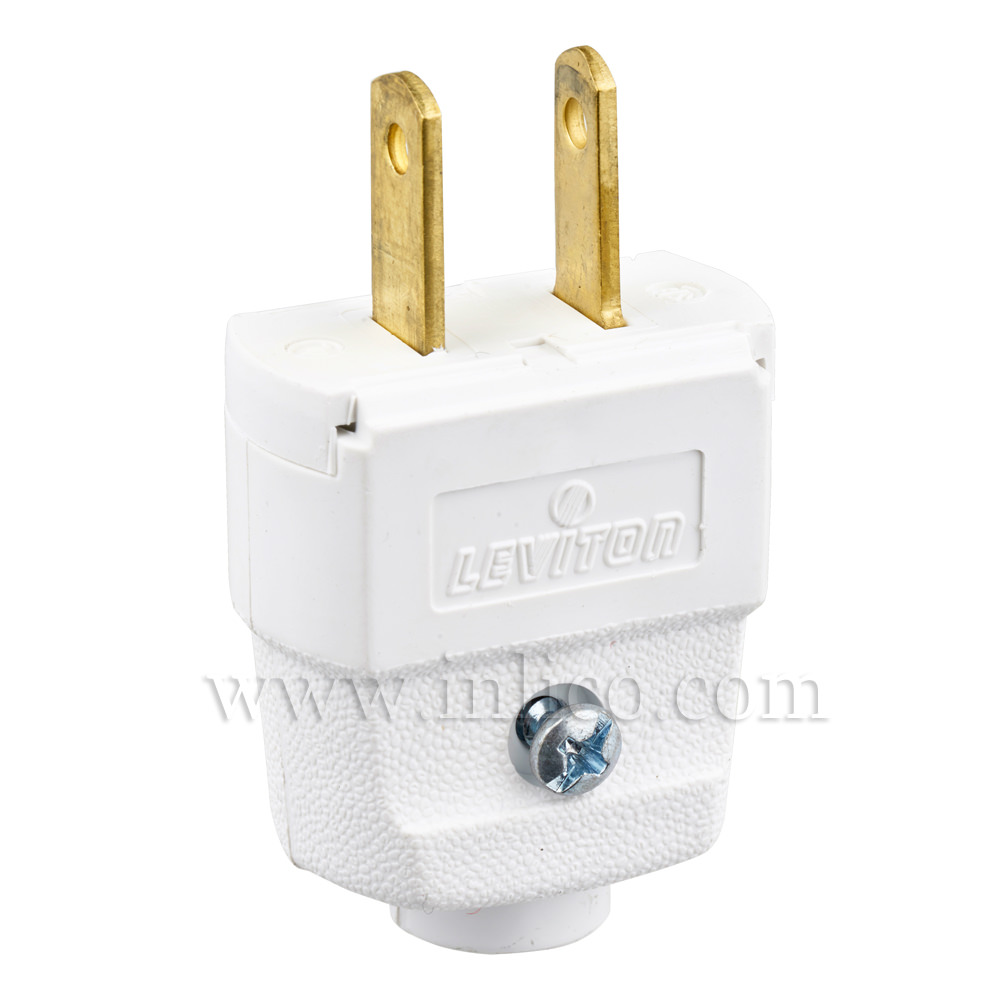 WHITE 2 PIN UL LISTED USA POLARISED PLUG  REWIREABLE WITH SCREW TERMINALS UL FILE NUMBER E13393