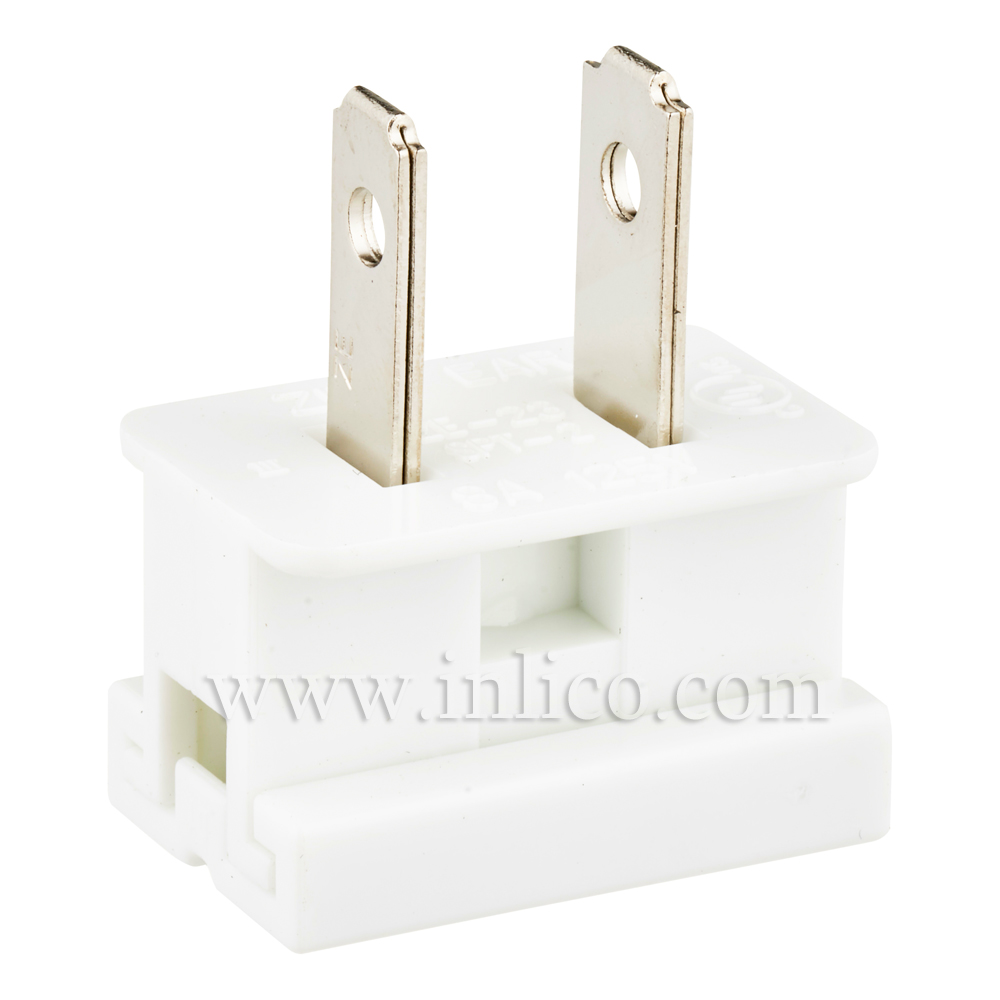 WHITE 2 PIN UL APPROVED USA POLARISED PLUG FOR SPT2 CABLE UL File No E152761