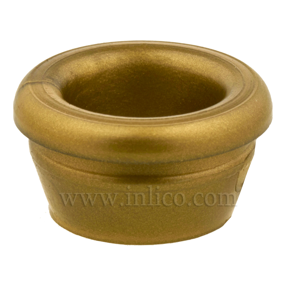 SMALL CIRCULAR OPEN LAMP BASE GROMMET GOLD 5.2MM INTERNAL , 7.6MM OAD ( NOT INC LIP), 6MM HIGH