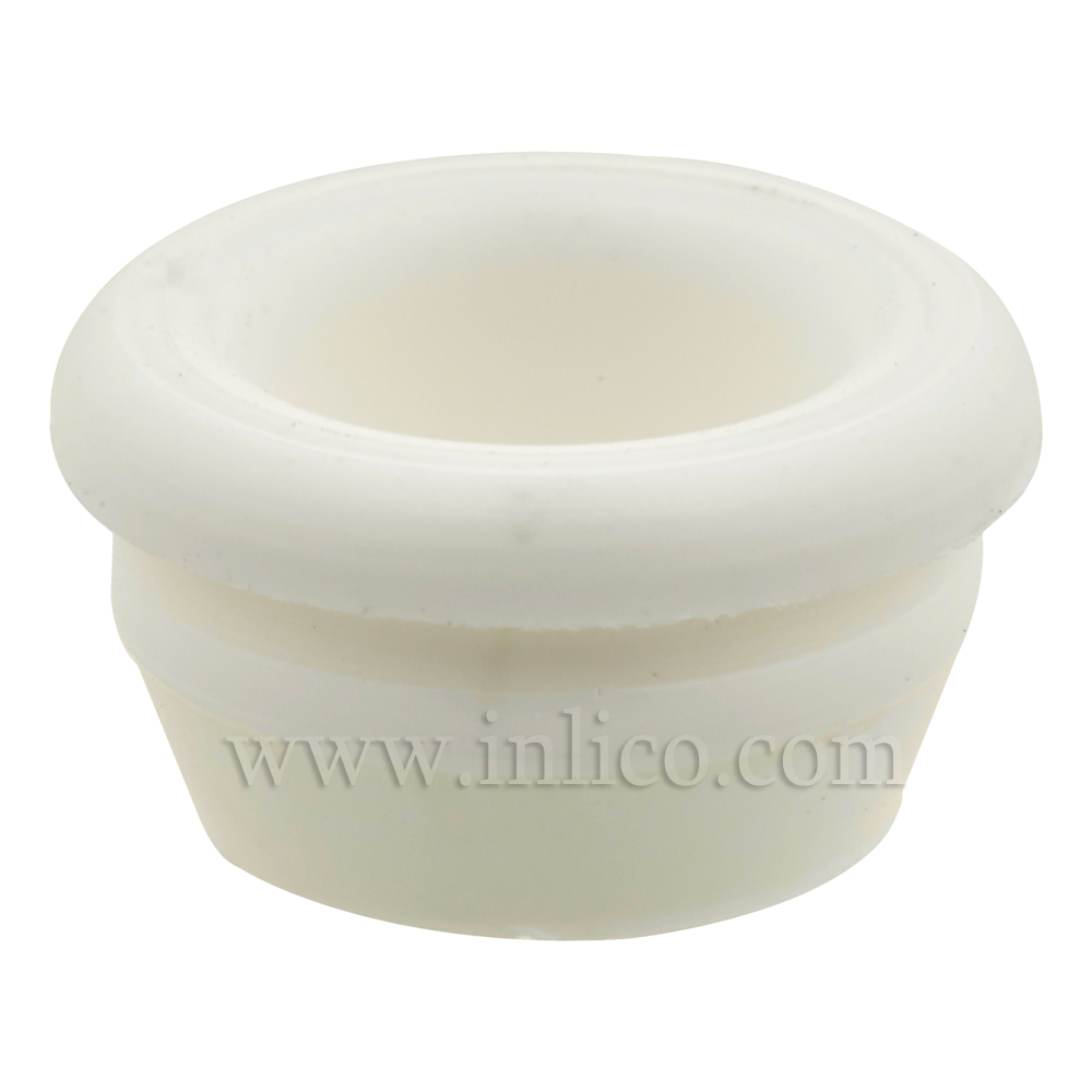 SMALL CIRCULAR OPEN LAMP BASE GROMMET WHITE 5.2MM INTERNAL , 7.6MM OAD( NOT INC LIP), 6MM HIGH