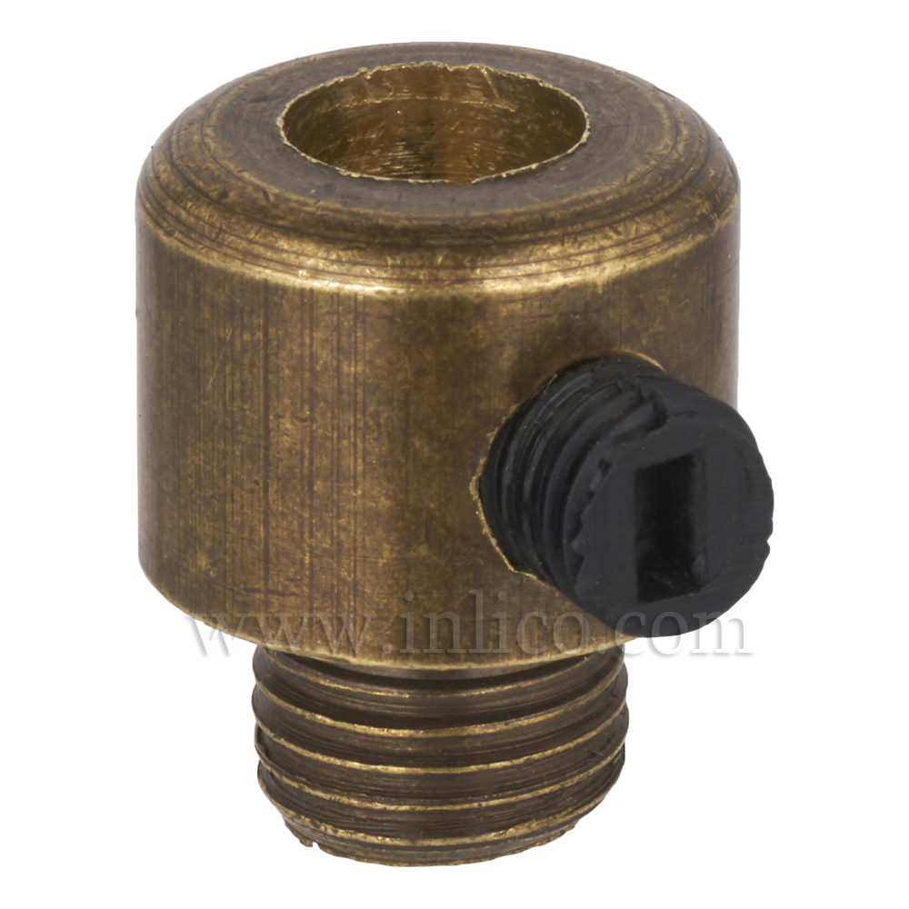 BRASS CORDGRIP MALE M10X1 OLD ENGLISH FINISH WITH BLACK PLASTIC GRUBSCREW