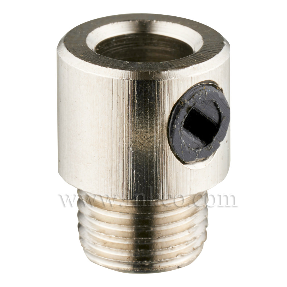 10MM CORDGRIP MALE NICKEL SILVER PLATED BRASS WITH BLACK PLASTIC GRUBSCREW