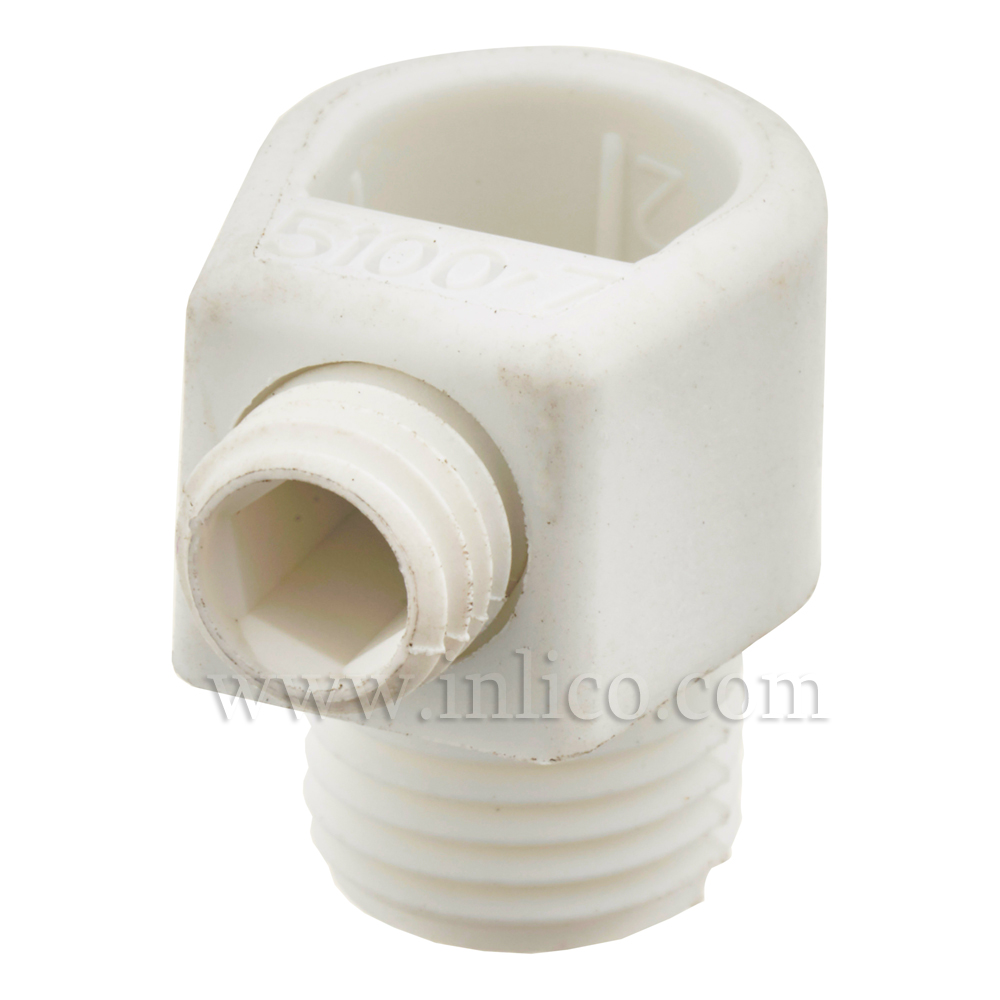10MM S/LOCK C/GRIP MALE WHITE - SHORT WITH 7.5MM THREAD LENGTH