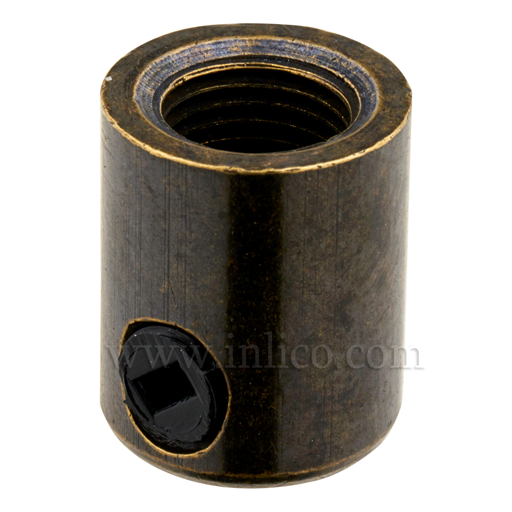 BRASS CORDGRIP FEMALE M10X1ANTIQUE BRASS FINISH WITH BLACK PLASTIC GRUBSCREW