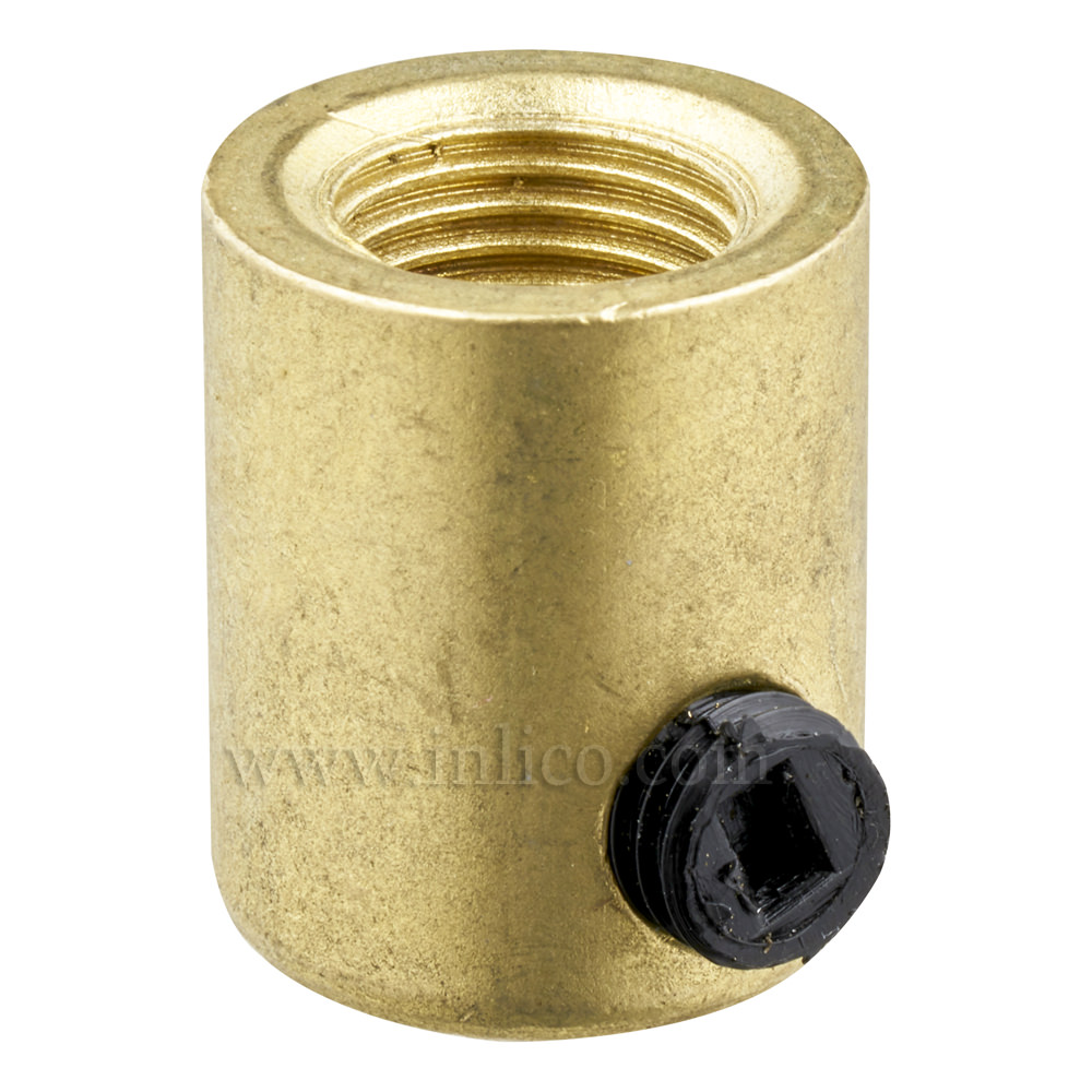 BRASS CORDGRIP FEMALE M10X1 RAW BRASS FINISH WITH BLACK PLASTIC GRUBSCREW