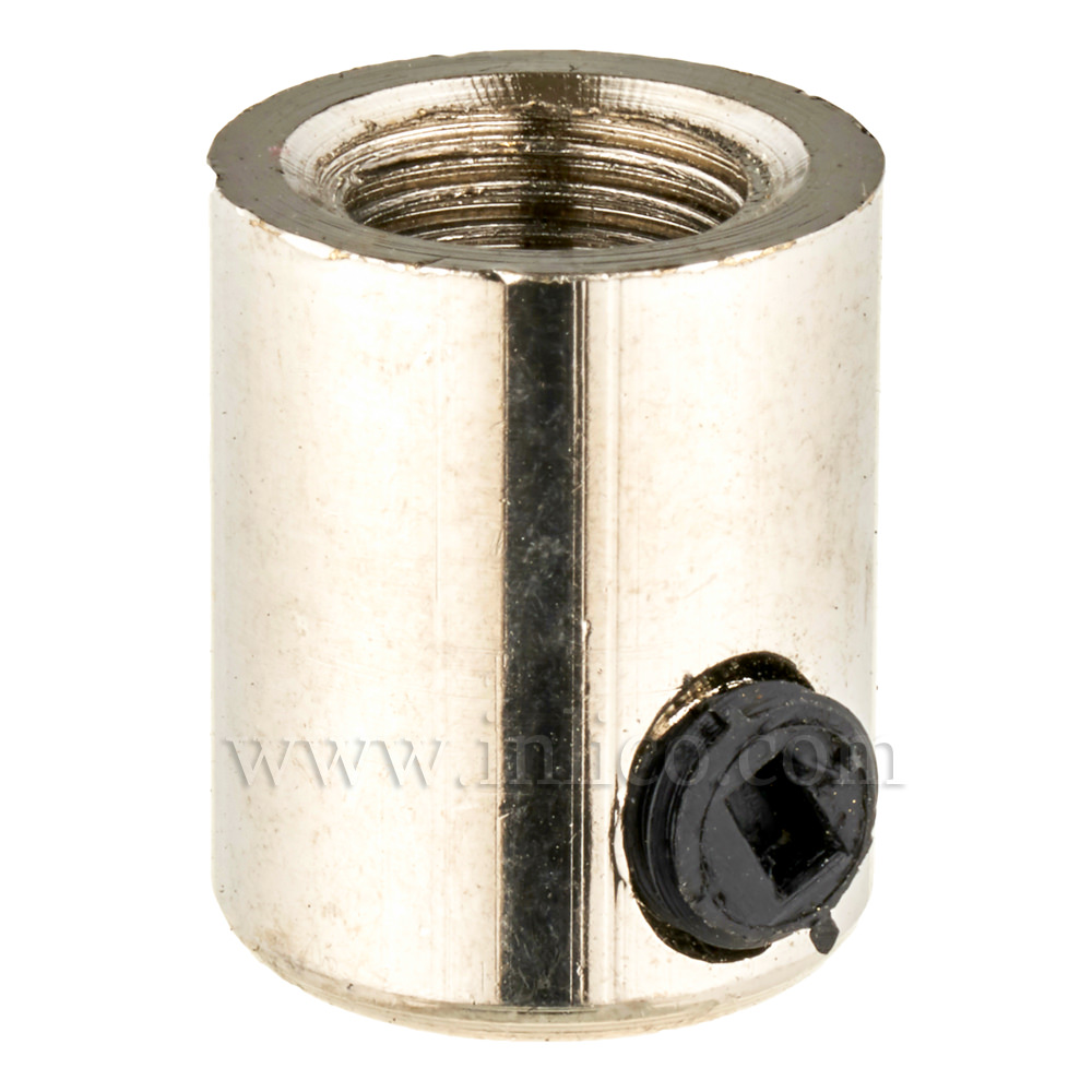 BRASS CORDGRIP FEMALE M10X1 NICKEL FINISH WITH BLACK PLASTIC GRUBSCREW
