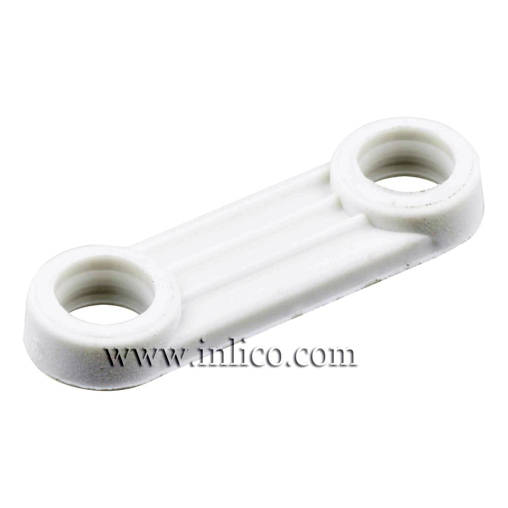 FIXING STRAP WHITE OAL 23MM  BETWEEN CENTRES 16MM THICKNESS 3MM HOLE DIAMETER 4.2MM