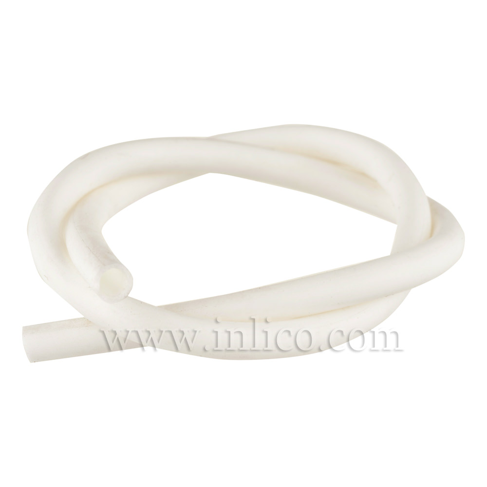 SILICONE SLEEVING 2.5MM ID x 0.5MM WALL 60 deg SHORE HARDNESS WHITE TEMPERATURE RANGE -40 deg C TO +200 deg C. 50M ROLL