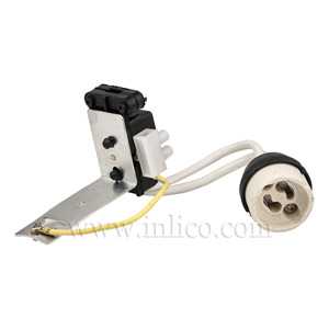 GU10 HALOGEN L/HOLDER FOR 240V MAINS DICHROIC REFLECTOR LAMP C/W CABLE BRACKET AND CLAMP CONNECTOR BLOCK