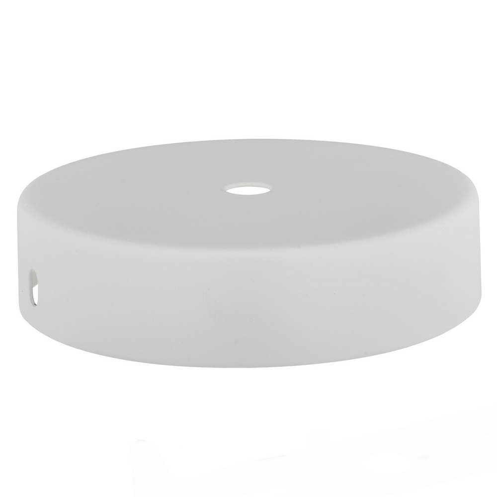 WHITE P/COAT RAW STEEL CEILING CUP 100MM DIA. X 25MM  10.5MM CENTRE HOLE & M4 SIDE HOLES FOR FIXING BRACKET