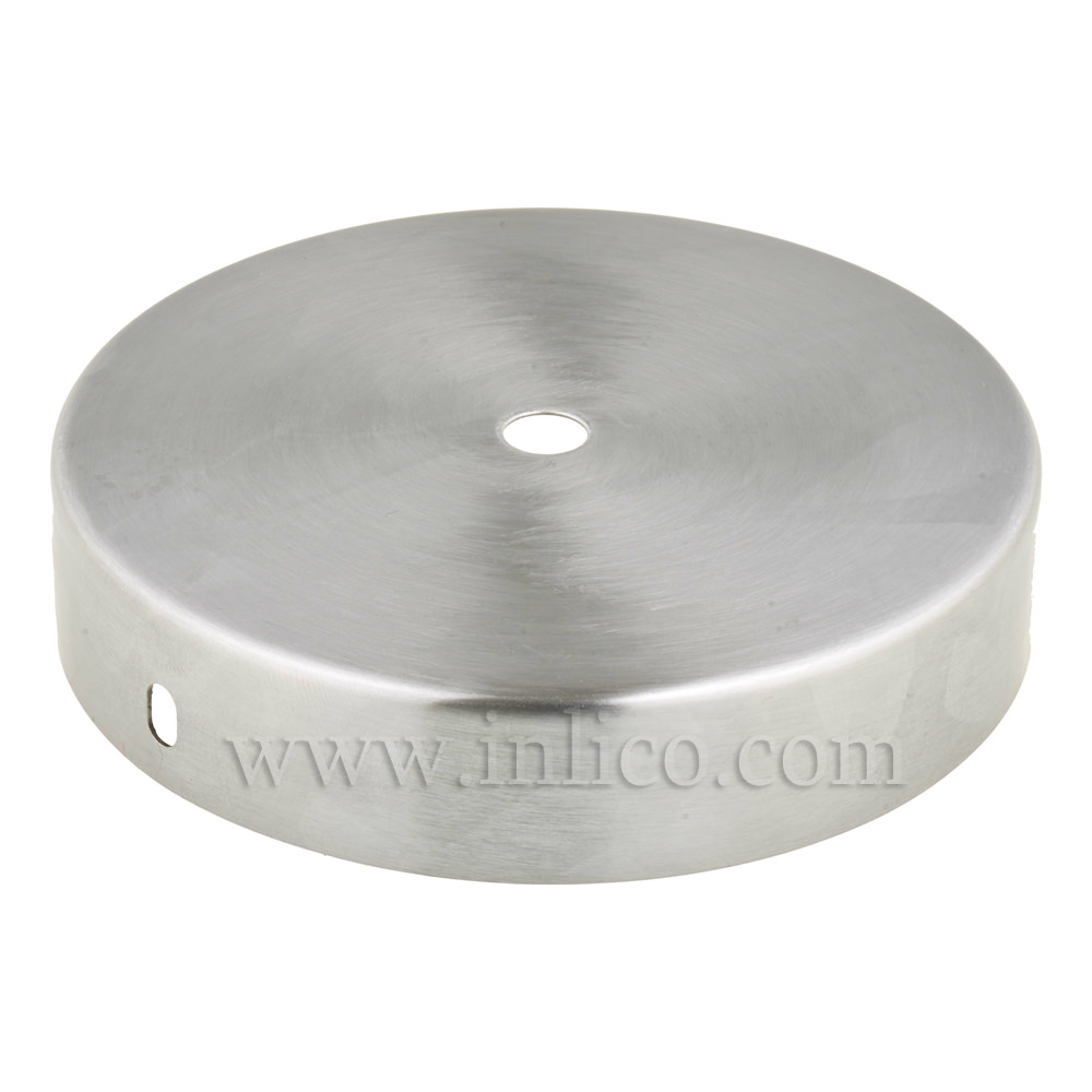RAW STEEL CEILING CUP 120MM DIA. X 25MM 10.5MM CENTRE HOLE & M4 SIDE HOLES FOR FIXING BRACKET