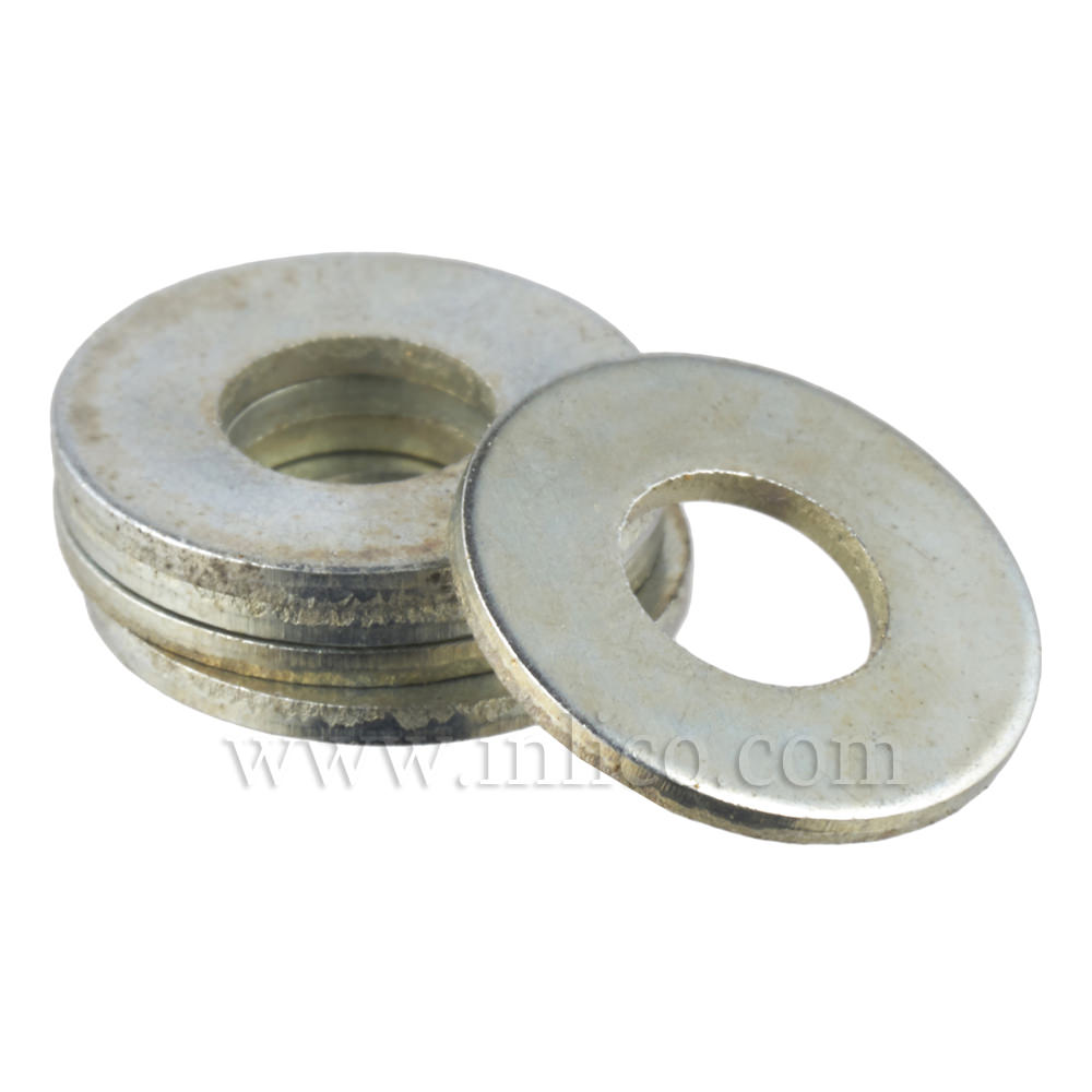 38MM x 1.5MM THICK STEEL WASHER BZP 10.5MM HOLE