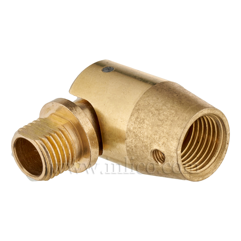 10MM M-F KNUCKLE JOINT SHORT  RAW BRASS OAL 40mm (BARREL) (WITH GRUB SCREW HOLE)