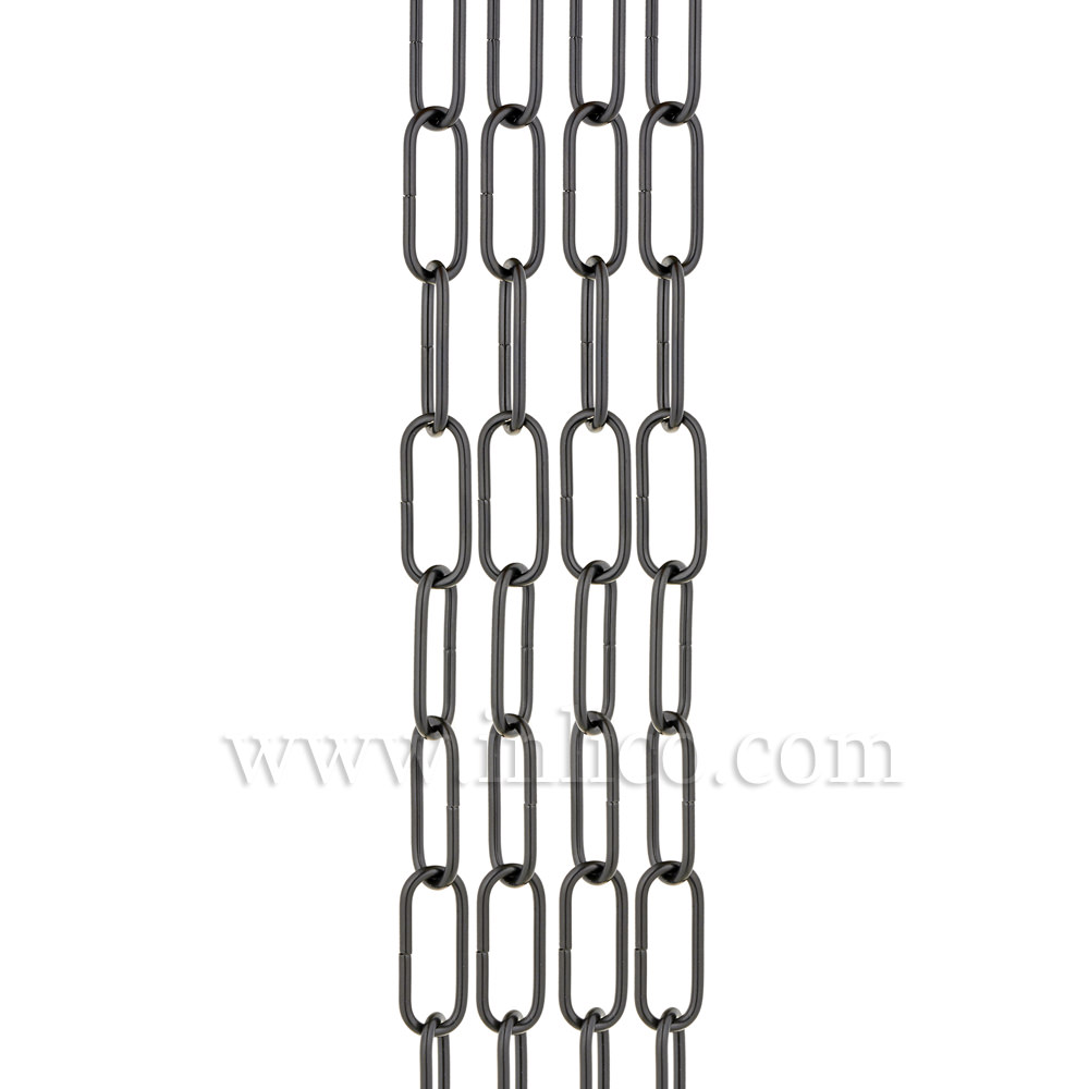 CHAIN BLACK POWDER COAT FINISH 2.8mm WIRE GAUGE  33mm x 10mm (internal)