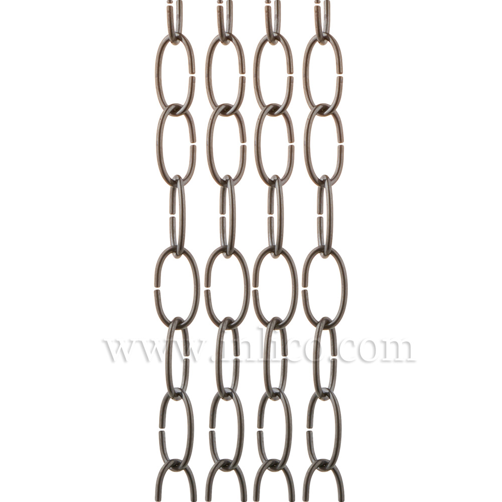 OVAL CHAIN BLACK NICKEL 2.7mm WIRE GAUGE  28mm x 12.5mm LINK (internal)