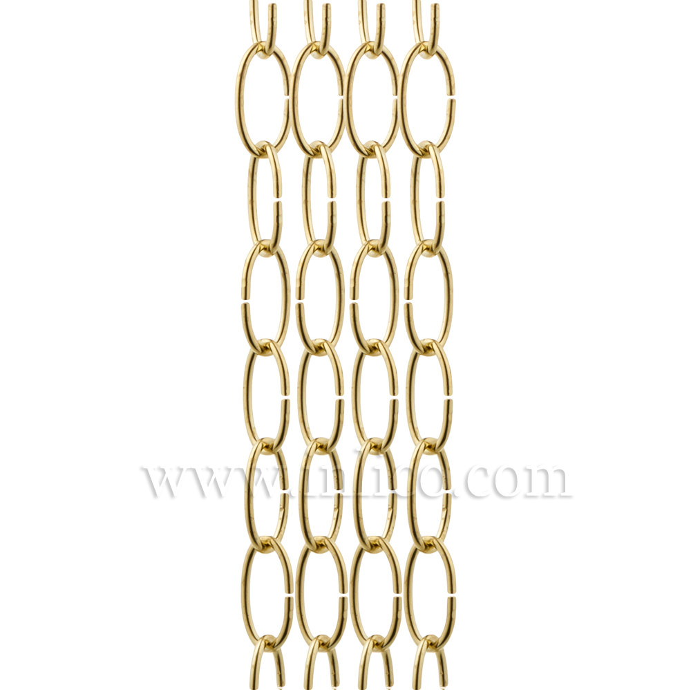 OVAL CHAIN BRASS PLATED  2.7mm WIRE GAUGE  28mm x 12.5mm LINK (internal)
