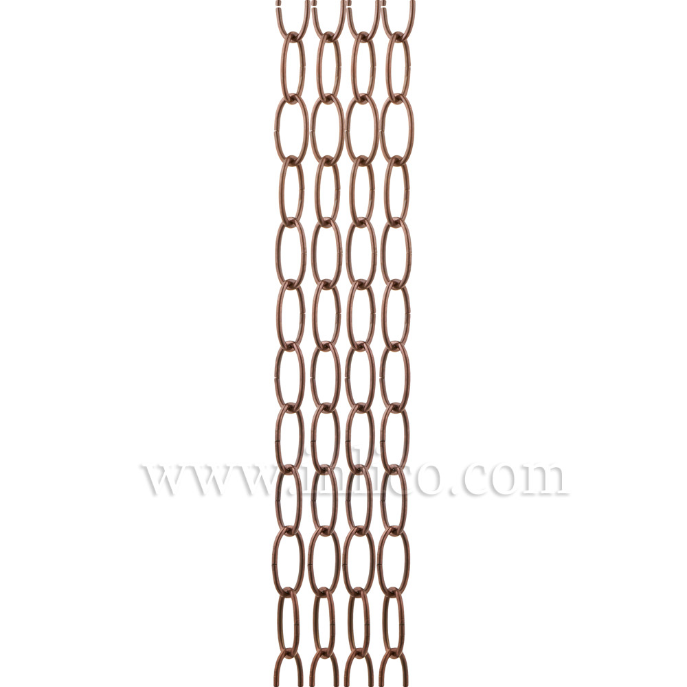 OVAL CHAIN ANTIQUE COPPER  2.7mm WIRE GAUGE 28mm x 12.5mm LINK (internal)