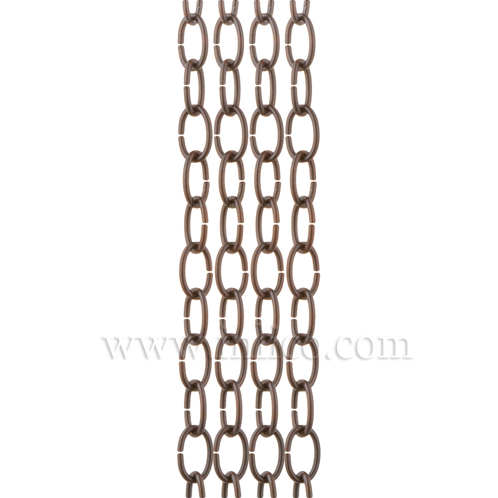 OVAL CHAIN ANTIQUE LIGHT DUTY  2.7mm WIRE GAUGE  18mm x 10mm LINK (internal)