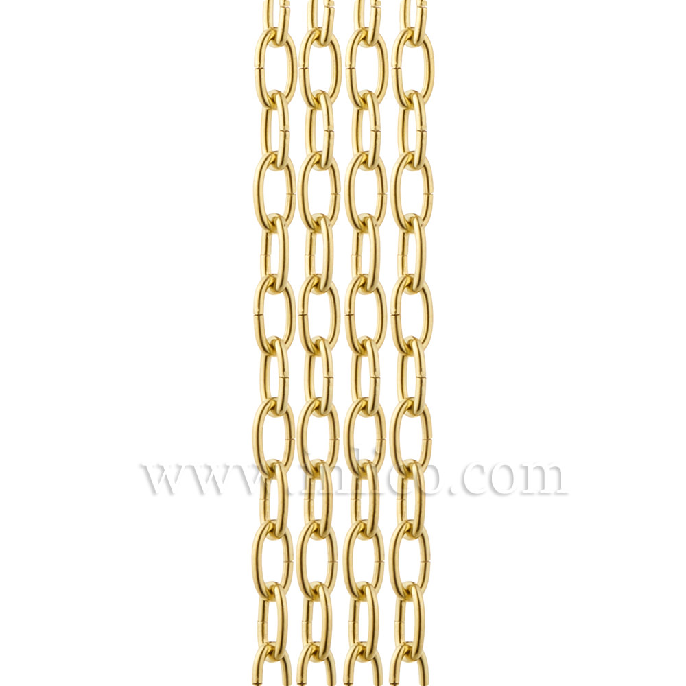 OVAL CHAIN BRASS PLATED LIGHT DUTY  2.7mm WIRE GAUGE  15mm x 6mm LINK (internal)