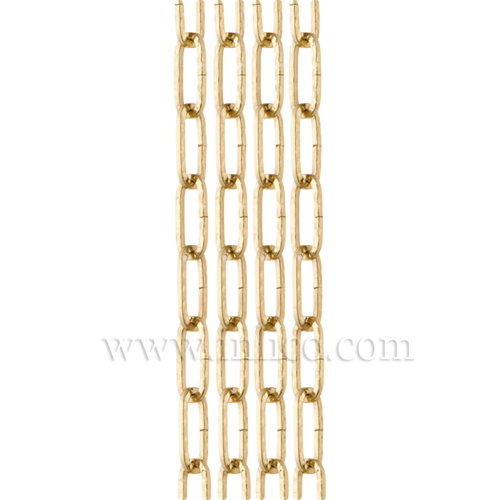 BRASS PLATED HAMMERED CHAIN - SMALL LINK  1.8mm WIRE  17mm x 5mm LINK (internal)