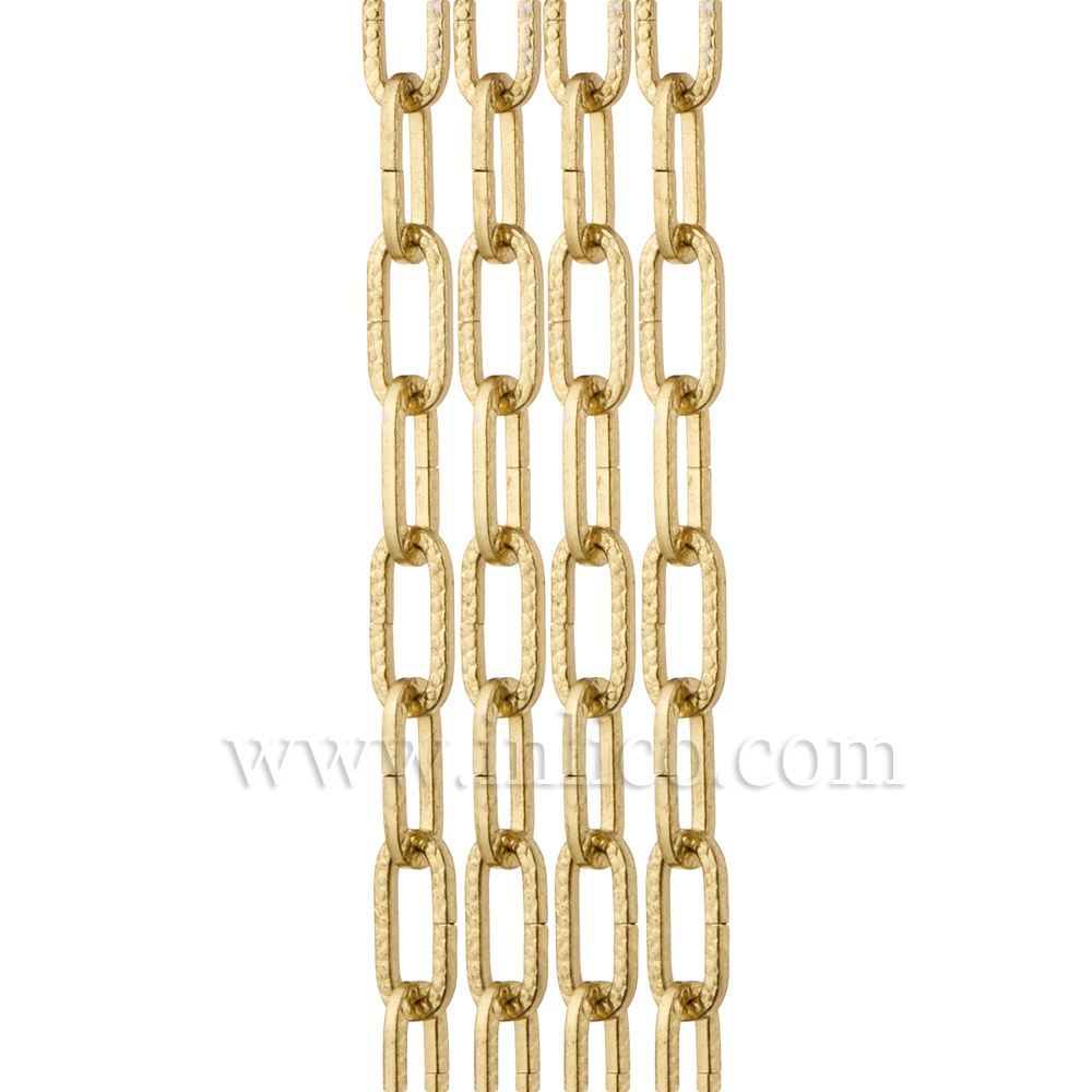 BRASS PLATED HAMMERED CHAIN - LARGE LINK   3.8mm WIRE  28mm x 9mm LINK (internal)