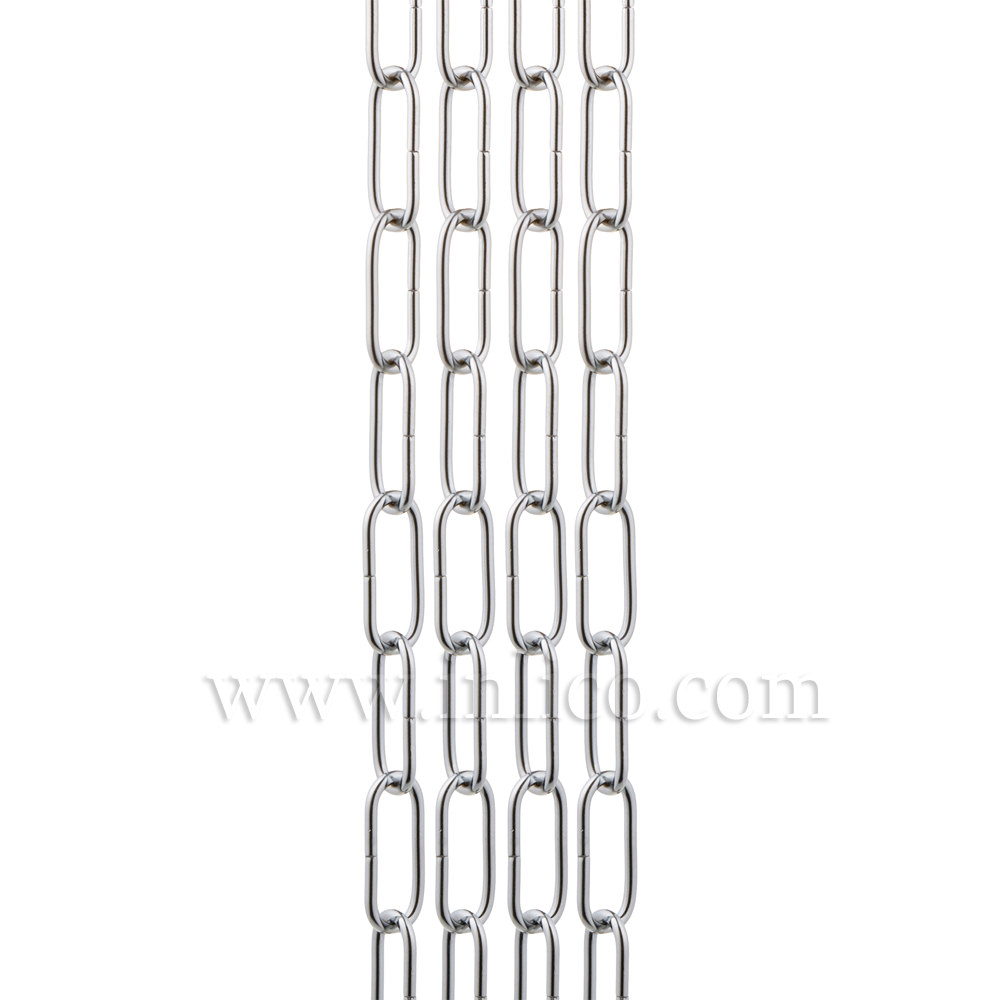 HEAVY DUTY CHROME PLATED CHAIN 3.6mm WIRE GAUGE 39mm x 13mm LINK (internal)
