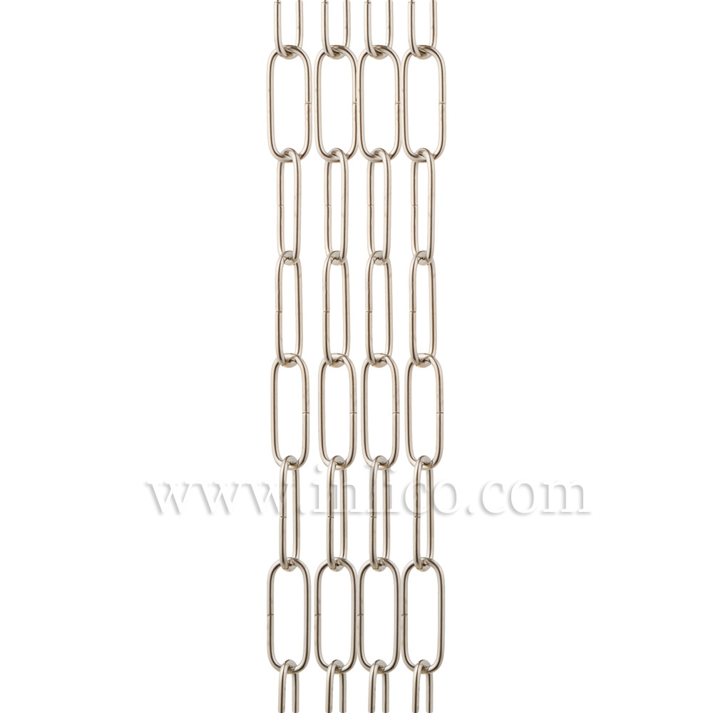 NICKEL PLATED SUSPENSION CHAIN 2.6mm WIRE GAUGE 35mm x 11mm LINK (Internal)