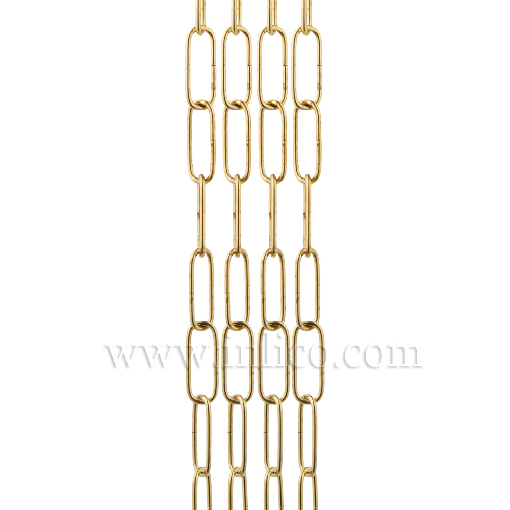 BRASS PLATED SUSPENSION CHAIN 2.6mm WIRE GAUGE 35mm x 11mm LINK (internal)