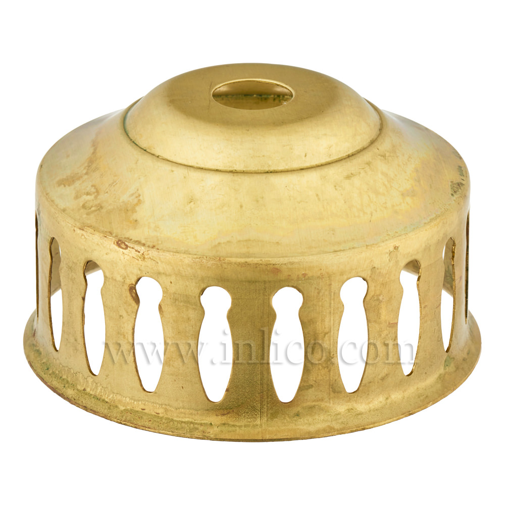 GLASS HOLDER - RAW BRASS 57X32MM WITH DECORATIVE CUT OUT DETAIL 10MM CENTRE HOLE