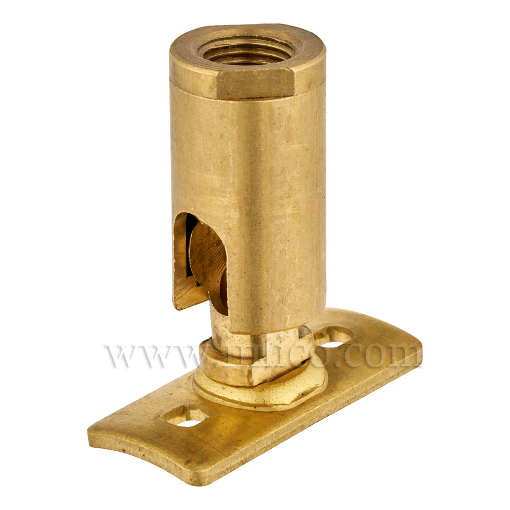 10MM KNUCKLE JOINT FEM+FIXING PLATE RAW BRASS. 90DEG JOINT BENDS TOWARDS SHORT SIDE OF FIXING PLATE