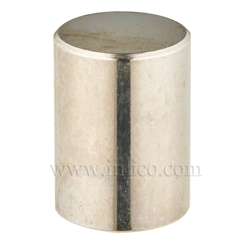 BRASS CYLINDER FINIAL NICKEL PLATED M10x1 13MM O/D x 18MM HEIGHT