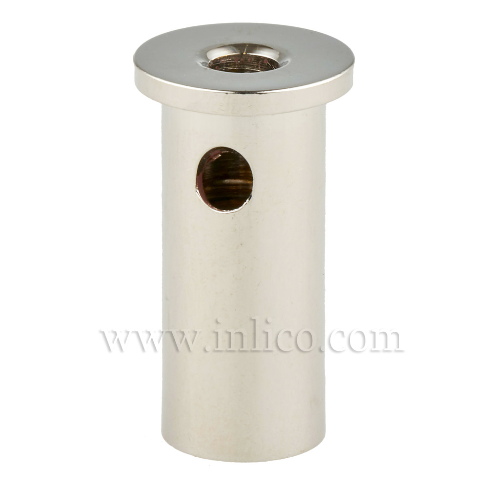CEILING ATTATCHMENT FOR SUSPENSION CLUTCH NICKEL PLATED BRASS CYLINDRICAL CROSS SECTION 16MM TOP X OD 12MM BOTTOM OD X 29MM WITH M10X1 THREAD. EXIT HOLE FOR SUSPENSION CABLE