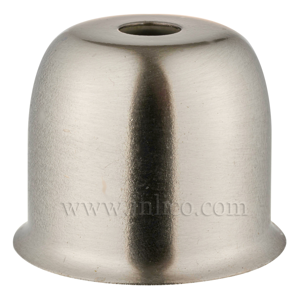 LAMPHOLDER CUP WITH BRUSHED NICKEL FINISH.  STEEL CUP 41X38MM WITH 10.5MM CENTRE HOLE HALF LAMPHOLDER COVER FOR E27/ES LAMPHOLDER