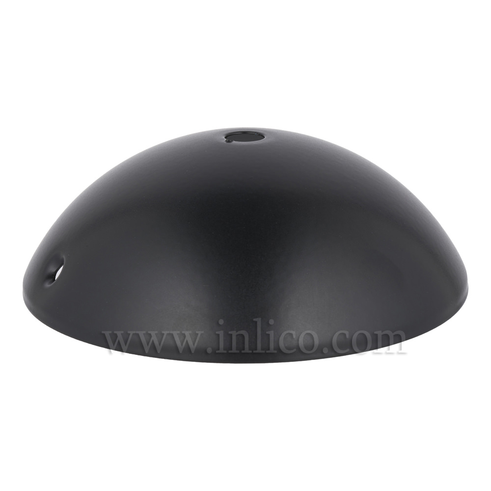 BLACK P/COAT STEEL HALF ROUND CEILING CUP120mm x 40mm WITH10.5mm CENTRE HOLE AND M4 SIDE HOLES FOR FIXING BRACKET