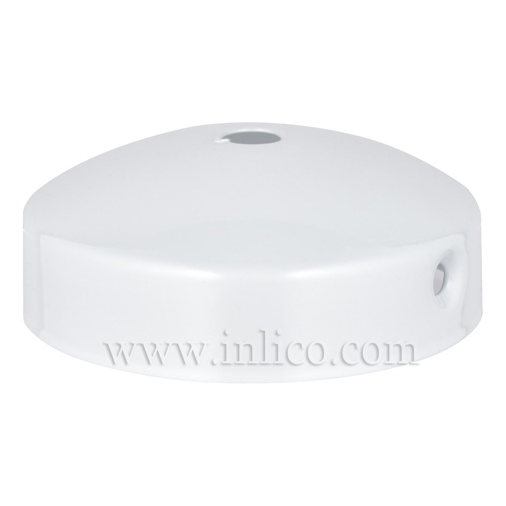 WHITE P/COAT STEEL DOMED CEILING CUP 80mm X 31mm WITH 10.5mm CENTRE HOLE AND M4 SIDE HOLES FOR FIXING BRACKET