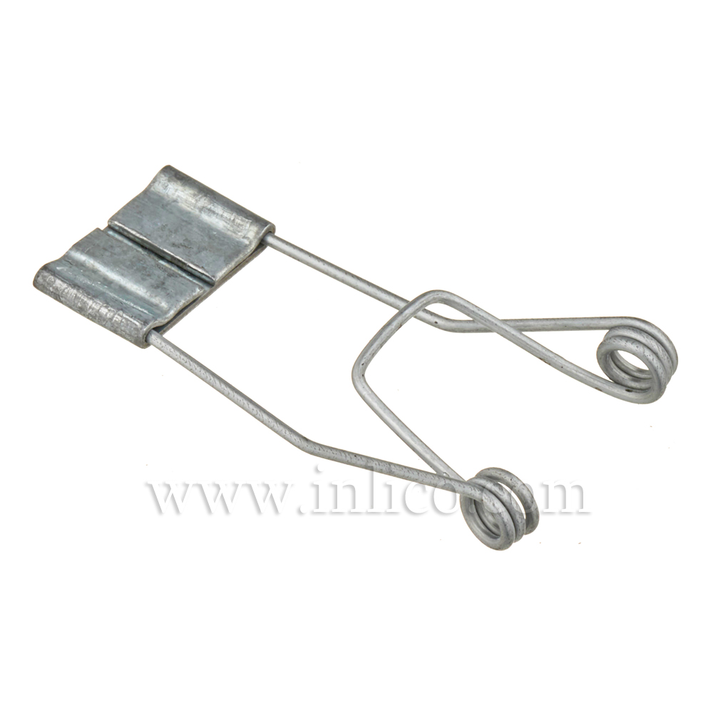 SPRING CLIP 19 X 45 X 3.5MM. HOLE 1MM. WIRE GALVANISED FINISH