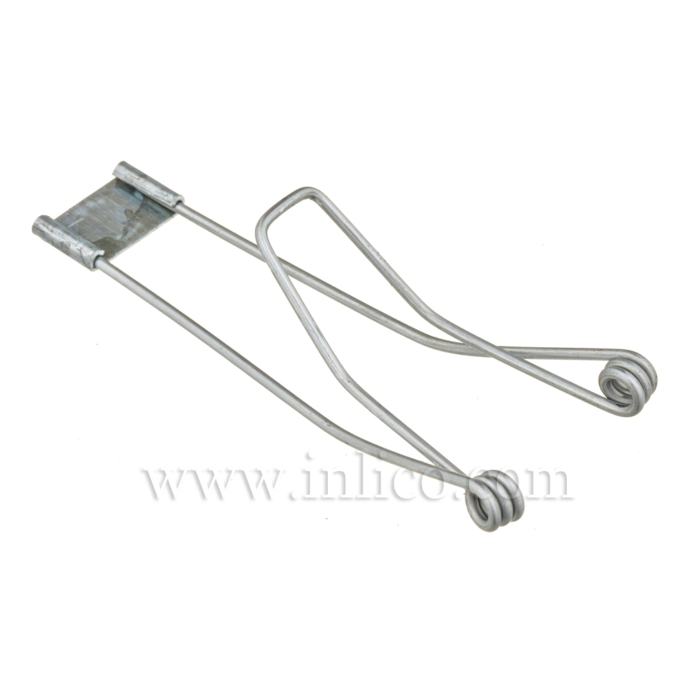 SPRING CLIP 49 X 87 X 3.5MM. HOLE 1.5MM. WIRE GALVANISED FINISH