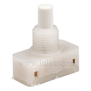 PRESS SWITCH WITH WHITE BUTTON AND 8MM THREAD LENGTH PUSH FIT TERMINALS STANDARD EN61058