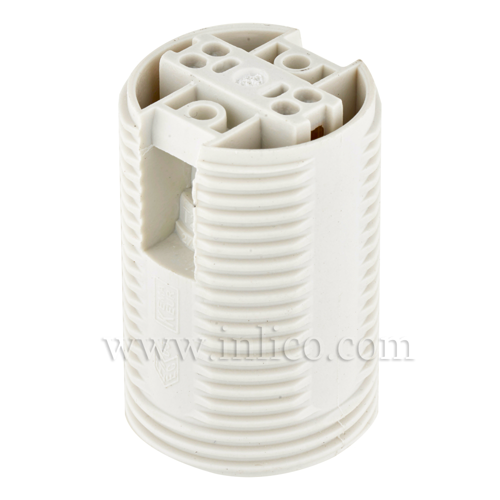 E14 FULLY THREADED SKIRT T210 WHITE LAMPHOLDER WITH PUSH FIT TERMINALS THERMOPLASTIC  APPROVAL ENEC05 TO EN60238:2004